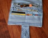 Womans Fold Over Wallet ,Credit Card Holder ,Zippered Pocket Organizer,Light Blue Cloth Wallet
