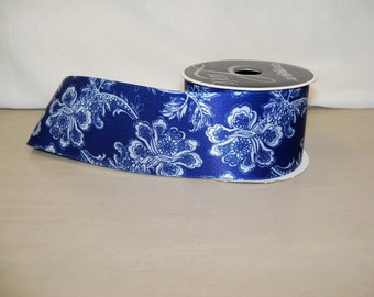 Blue Floral Ribbon - 3 yards