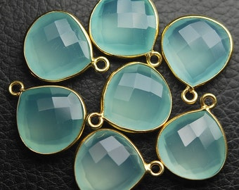 925 Sterling Vermeil Silver Aqua Chalcedony Faceted Heart Shape Pendant,4 Piece of 18mm