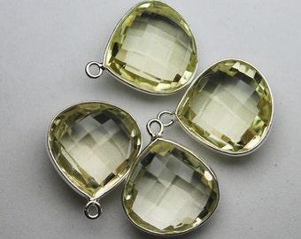 925 Sterling Silver Lemon Quartz Faceted Heart Shape Pendant,2 Piece of 20mm