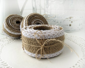 Natural Burlap Ribbon with White Lace - 3 inch x 10 yards
