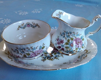 Gorgeous Mandarin pattern milk & sugar set with plate