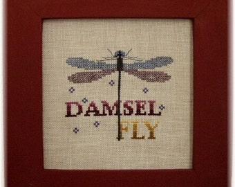 """Cross Stitch Instant Download Pattern """"Damselfly"""" Counted Embroidery Chart. Wings. Insect. Turquoise Graphics & Designs. X stitch."""
