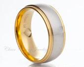 Stinaless Steel Ring,Wedding Ring,Two Tone,Gold,Satin Polish,Wedding Band,Handmade,8mm (50 Letters Free Engraving)