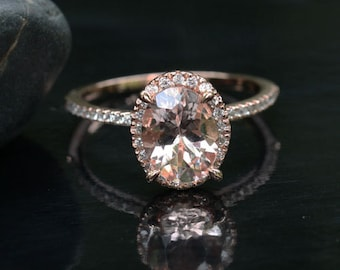 Morganite Engagement Ring in 14k Rose Gold Morganite Oval 9x7mm and Diamond Ring (Custom Options Available)