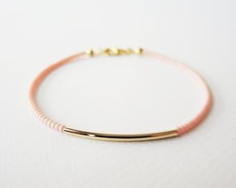 Gold bar bracelet - Pastel Pink