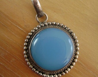 blue chalcedony and sterling pendant