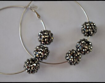 Sparklin Silvery Grey acrylic Pave beads on Hypo-Allergenic silver metal pierced hoops