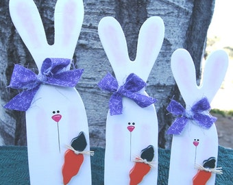 Bunny Trio - Wood Easter Decoration - Spring Decoration - Shelf Sitters