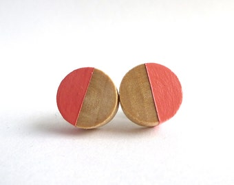 Coral stud earrings, wood post earrings, spring colors, apricot, peach earrings, pastel colors, paint dipped wood, minimalist earrings