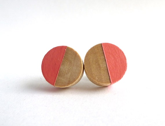 Coral stud earrings, wood post earrings, spring colors, apricot, peach