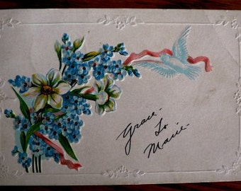 vintage POSTCARDS ... Floral Blue bell and LILLY dove stamped 1910  ...