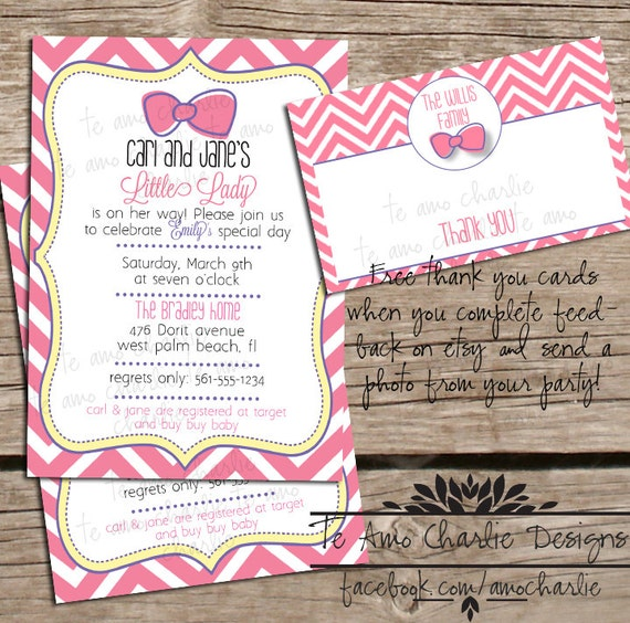 printable girl baby shower invitation with free thank you card bow