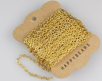 Light Gold Chain, Anodized Aluminum Chain, Oval Cable Chain, 5.3x3.5mm, Thread Dia. 1mm, Pkg of 30 feet, N0FI.LG02.L30F