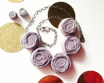 Gray Rosette Necklace