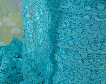 3yds Lace Stretch Ribbon Elastic Trim Light Turquoise Blue 1 1/4 inch Baby Headbands, lingerie Lace Edging, bra making supplies, sewing trim