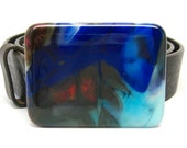 Custom Listing for Anne: Mod Cobalt Blue Glass Buckle and Black Belt