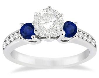 0.60ct Three-Stone Sapphire & Diamond Engagement Ring Setting Palladium
