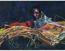 Miles Davis Art Print - Jazz Art - Surreal Art - Wall Art - High Mileage Davis by Black Ink Art