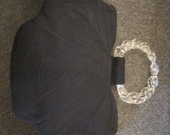 Black Corde Purse with Double, Twisted, Carved, Clear Lucite Handles, ca 1950s
