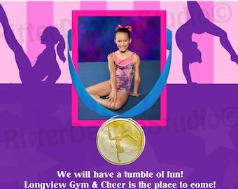 Gymnastics Pink Purple Birthday Invitation (ANY COLOR) - Printable/Digital File