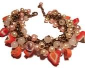 Fruit charm bracelet beaded cluster bracelet strawberry bracelet