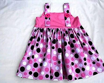 Size 6 Girls Pink, Black & White Strap Dress With Large Buttons