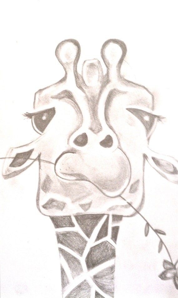 Funny Giraffe Painting by BunnytheDuck on Etsy Cool Giraffe Drawing