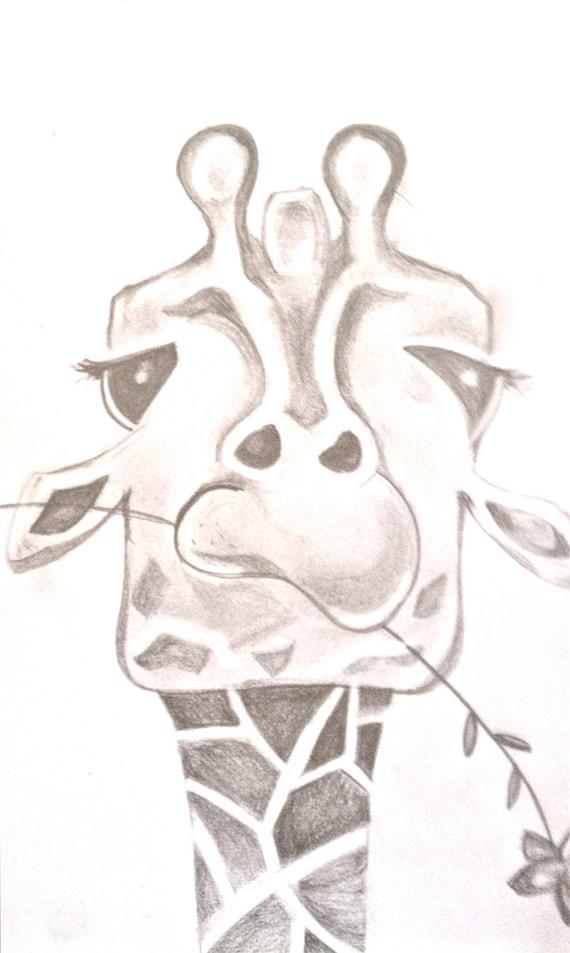 Funny Giraffe Painting by BunnytheDuck on EtsyCool Giraffe Drawings