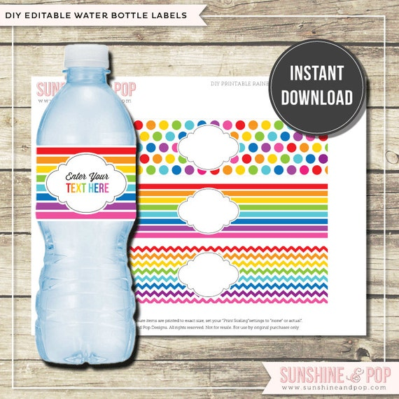 INSTANT DOWNLOAD - DIY Editable Rainbow Party Water Bottle Labels ...