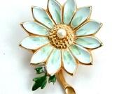 Vintage Sky Blue Moss Green Enamel Flower Brooch