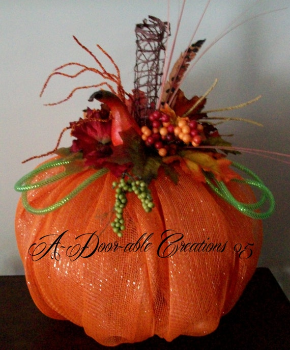 Pumpkin centerpiece fall table floral