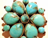 Vintage Sterling Silver Pendant Barse Real Turquoise