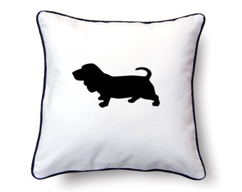 Basset Hound Pillow 18x18 - Basset Hound Silhouette Pillow - Personalized Name or Text Optional