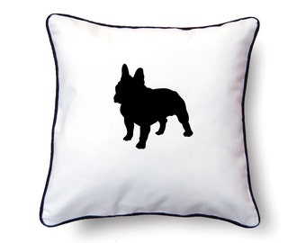 French Bulldog Pillow 18x18 - French Bulldog Silhouette Pillow - Personalized Name or Text Optional