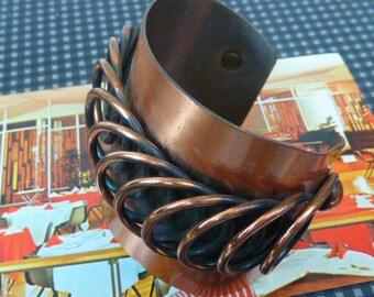 VINTAGE SUPER WIDE fabulous signed Renoir copper cuff bracelet