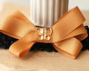 Gold Bow on Crochet Headband