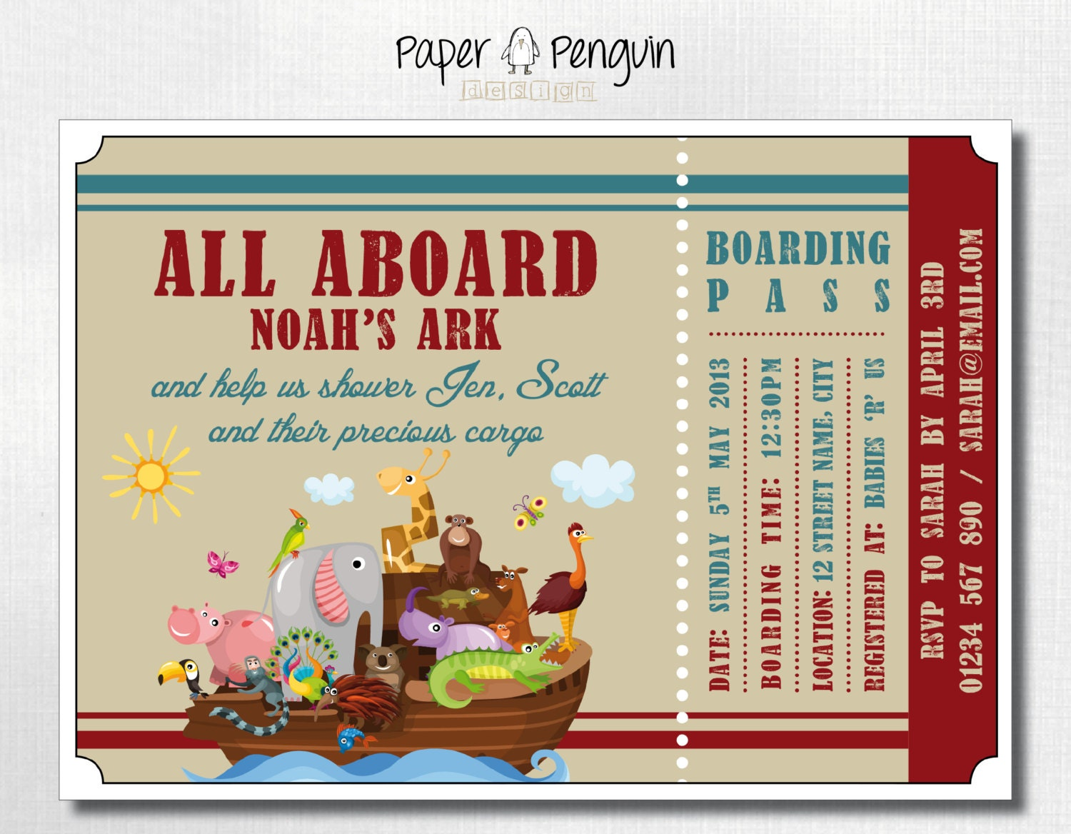 all aboard noah 39 s ark baby shower invitation by paperpenguindesign