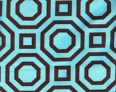 Hexagon Fabric - Aqua and Brown   1 Yd