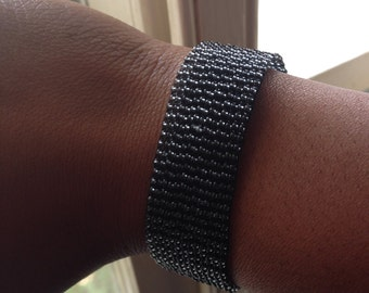 Transparent Black Bead Loom Bracelet