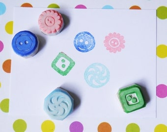 Button hand carved stamp, set of 4 - hand carved rubber stamp, handmade rubber stamp, handcarved rubber stamp, handmade stamp