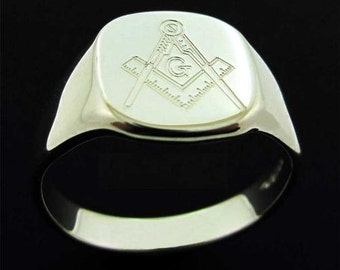 Sterling Silver Masonic Ring Men's Signet Ring Freemason Ring - Masonic Gift for Him - available without G