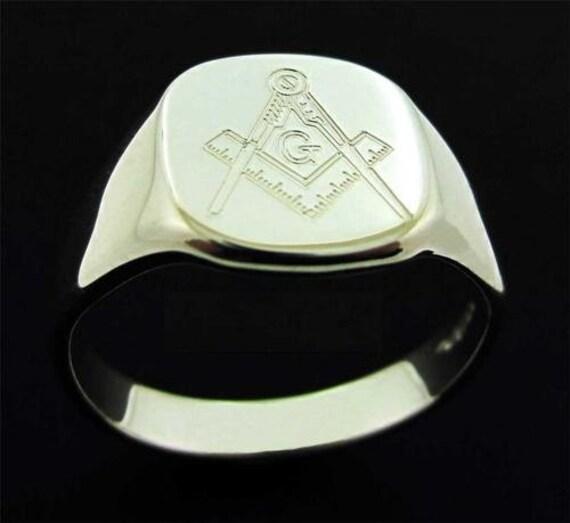 Sterling Silver Masonic Ring Men S Signet Ring Freemason
