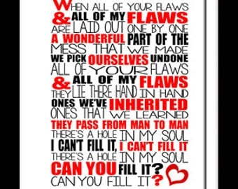 Bastille Flaws. 8x10 picture mount & Print Typography song music lyric for framing ( No Frame )