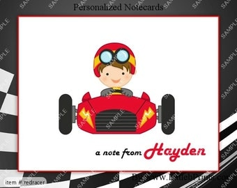 Cute Boy Racecar Race Note Cards Set of 10 personalized flat or folded cards