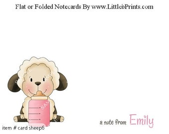 Baby Sheep Lamb Note Cards Set of 10 personalized flat or folded cards