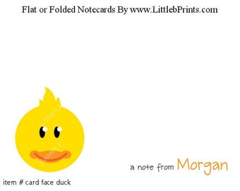 Animal Face Yellow Duck Ducky Note Cards Set of 10 personalized flat or folded cards