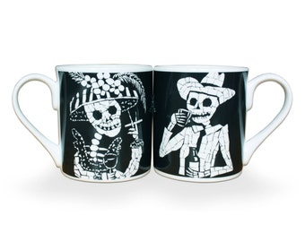 Fine Bone China His n Her Set of Mugs - Day of the Dead Skeletons - Unique Wedding or Anniversary Gift