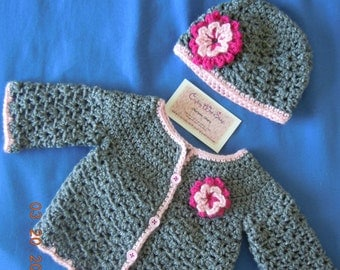 Girls Flower Accent Cardigan and Beanie Set