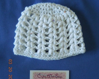 Girls White With Sequins Beanie Hat (Hat ONLY)